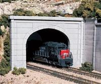 N Double Track Tunnel Portals pkg(2; Unpainted Hyrdrocal(R) Castings) -- Concrete